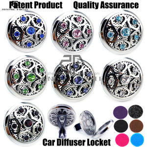 2017 New (38mm) Magnet Diffuser 316 Stainless Steel Car Aroma Locket Free Pads Crystals Essential Oil Car Diffuser Lockets