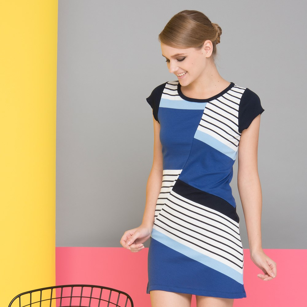 Wholesale OEM spandex knitted ladies pakistani new style cutting stripe dress