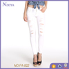Jeans in Washed White with Thigh Rips Ladies Jeans Top Design