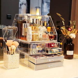 Custom design cosmetic top counter acrylic ,makeup display stand Makeup Showcase Perfume Cosmetics Wooden Display Case