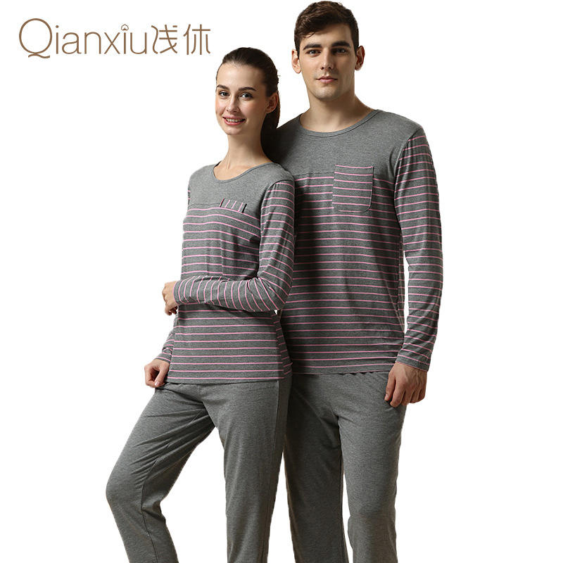 08acedb1fb Get Quotations · New Couple Modal Cotton Knitted Striped Long Sleeved  Couples Matching Pajamas Pijama Masculino Pajama Sets Women