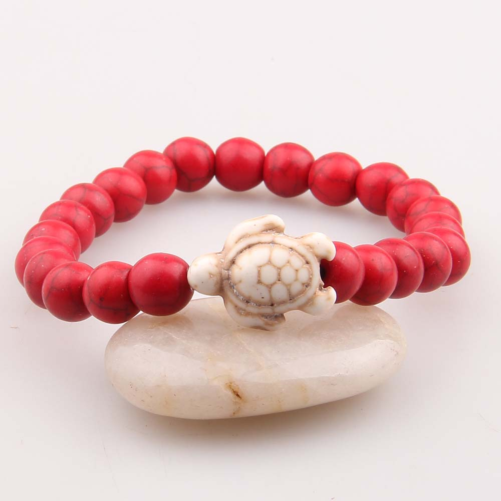wholesale friendship bracelet natural stone turquoise turtle bracelet, As show (customize colors are available)