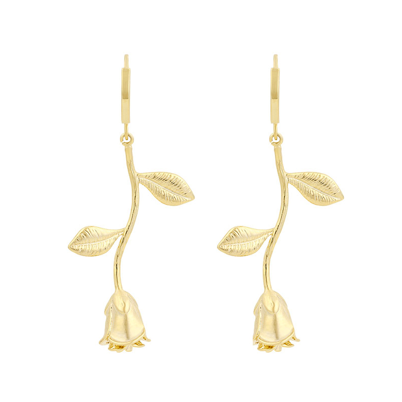 925 sterling silver <strong>rose</strong> <strong>flower</strong> shape drop 14k gold hoop <strong>earrings</strong>