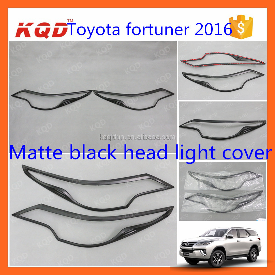 toyota fortuner 2016 matte black head lamp/light cover/bezel for toyota fortuner accessories car decoration accessories fortuner