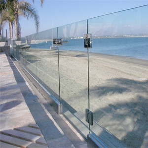 Aluminium U shape base channel tempered glass for outdoor railing