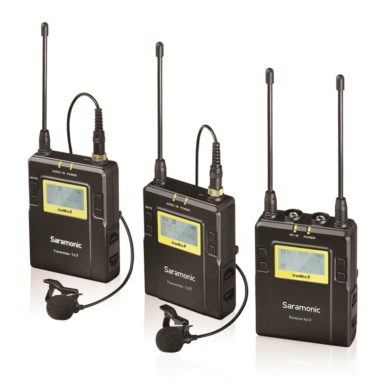 Saramonic UWMIC10 96-Channel Digital UHF Wireless Lavalier Microphone System with 2 Bodypack Transmitters, Portable Receiver, 2 Lav Mics, Shoe Mount, XLR/3.5mm Outputs + More