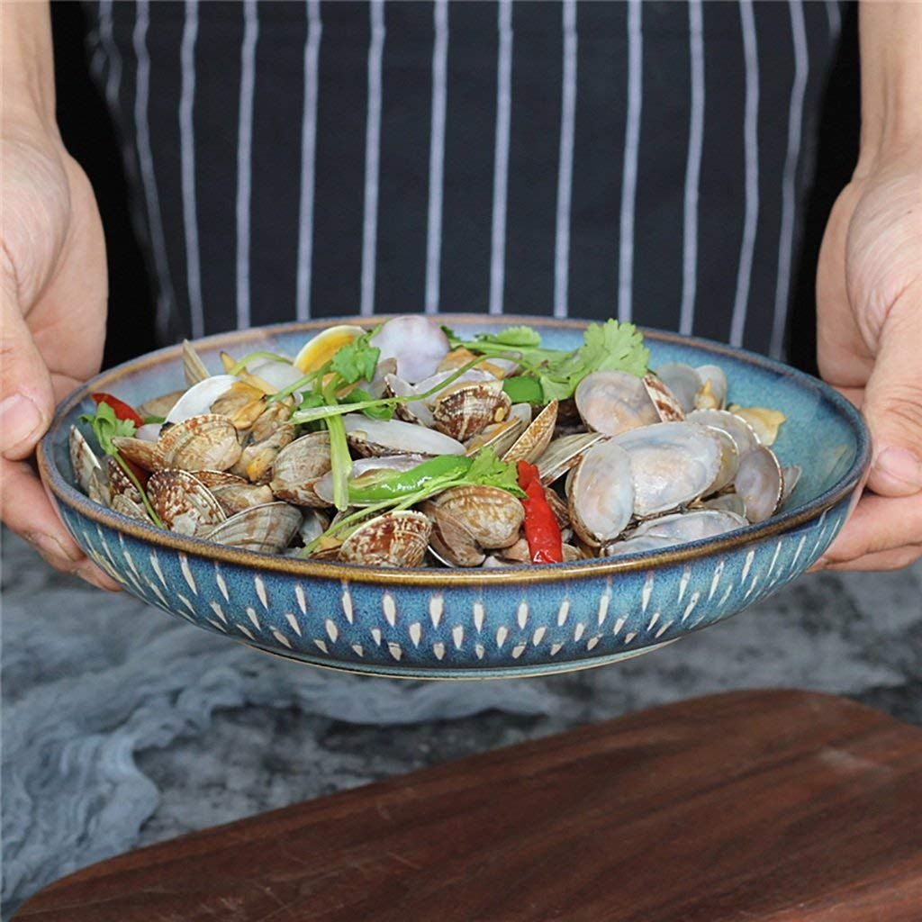 Household Tableware European Style Ceramic Creative Salad Bowl Vegetable Bowl Dessert Bowl Fruit Plate (Size: Diameter 23CM High 4.5CM 950ML)