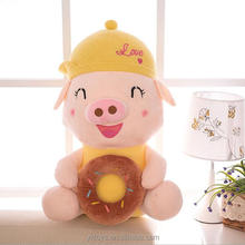 Popular super soft toy plush pig with little donut