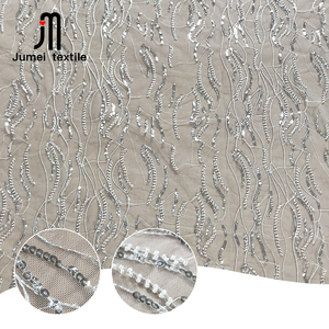 Latest design fashion 3d beaded bridal white lace sequin fabric for sale