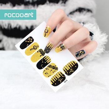 Y5019 Adhesive Nail Art Stickers Black Gold Piano Music Notation