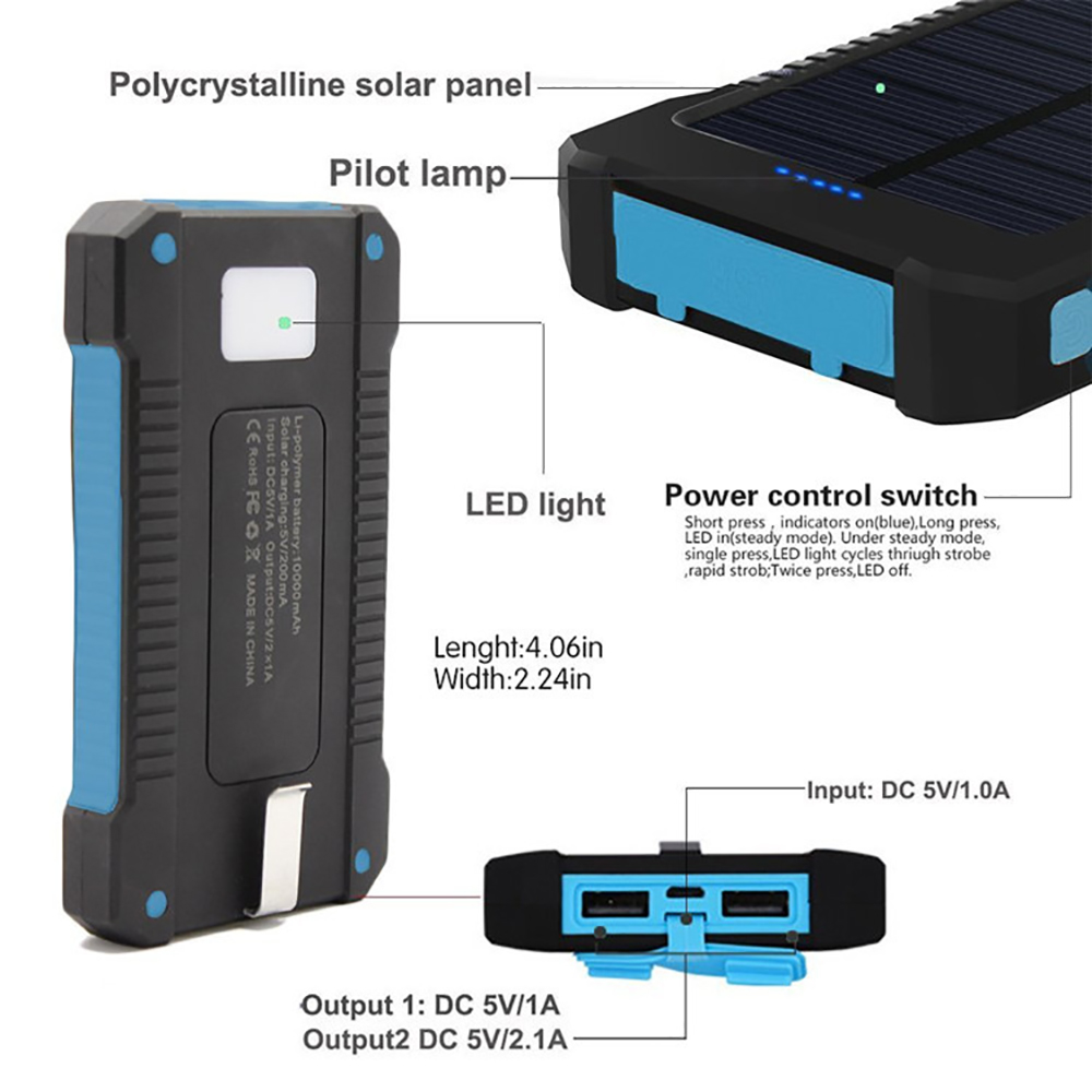 2020 trending products Solar Power Bank External Battery charge Dual USB Powerbank Portable Mobile phone Charger for iPhone 8