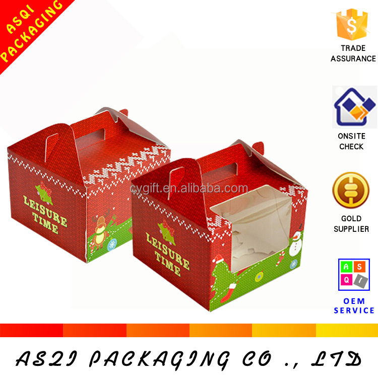 china factory custom chrismas paper muffin box with handle