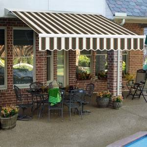 Awntech 24-Feet Destin LX with Hood Left Motor with Remote Retractable Awning, 120-Inch Projection, Burgundy/Forest Green/Tan Multi