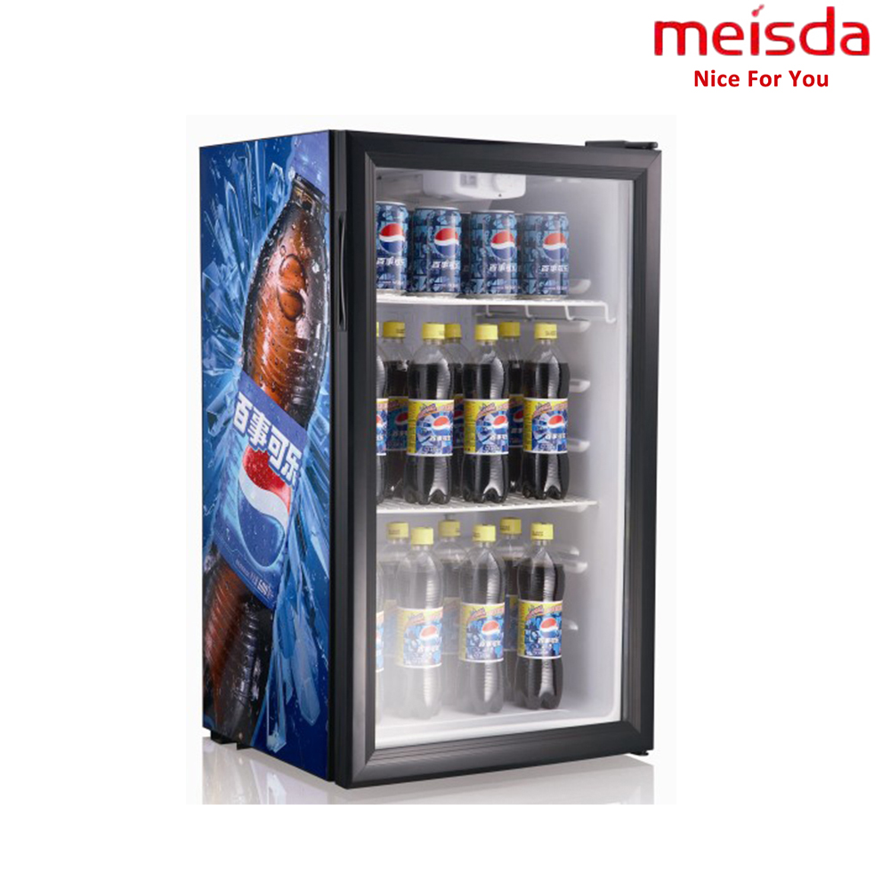 Cold Drink 98L Compressor Cooling Pepsi Display Refrigerator RoHS