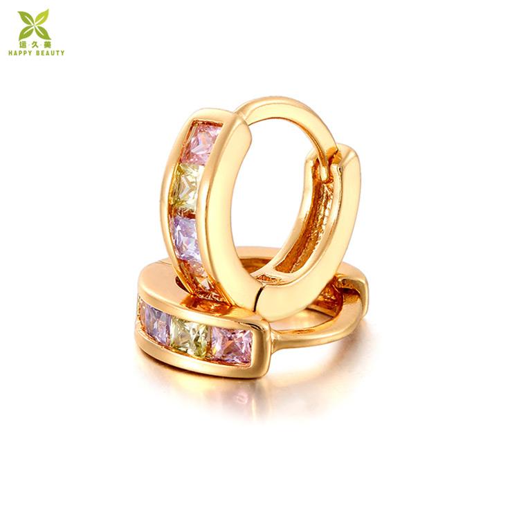 Fashion Women Gold Plated Colorful Zirconia CZ Hoop Huggie Earrings Jewelry