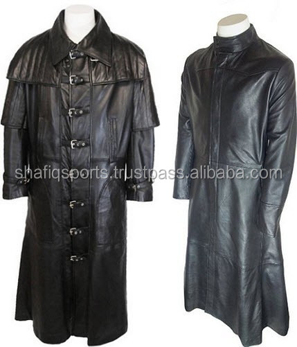 Long black leather coat mens