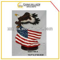New Polyresin Flying Eagle Statue with American Flag
