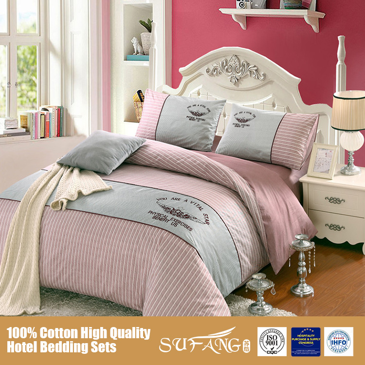 Queen Size Home Textile Bed Linen Sets/Polyester Filling Leisure Style Pure Cotton Bed Sheet Sets