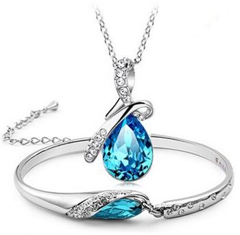 New arrival Angel Tears Austrian Crystal Necklace & bangle Set Fashion Jewelry set free shipping