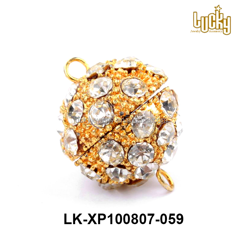 jewelry findings gold plated metal brass ball rhinestone pave bracelet magnetic clasps with loops for leather bracelet