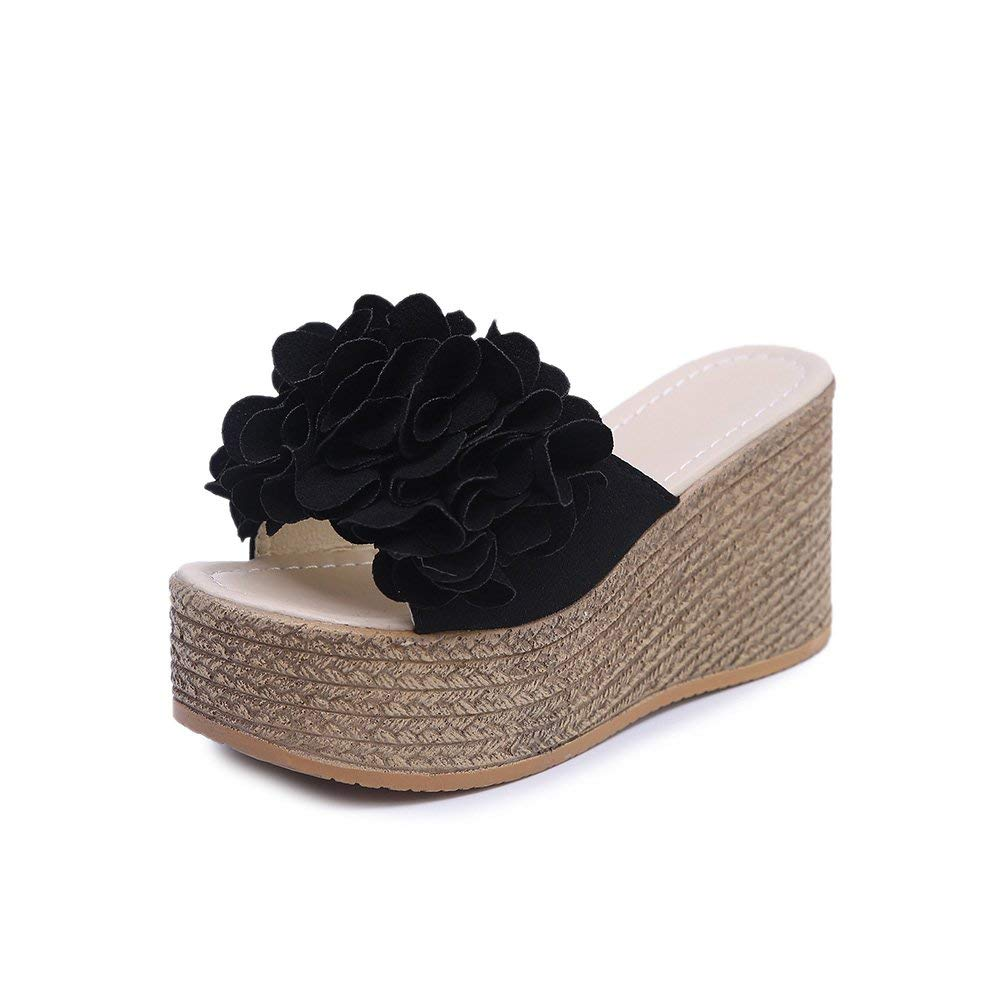 31f2a422c8a Get Quotations · fereshte Women s Velvet Floral Wedged Heels Platform Beach  Sandals