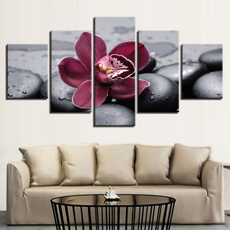 HD Screen Printing Painting Wall Art Portrait 5 Modular Panel Purple Orchid Black Pebbles Poster Modern Home Decor Room Living