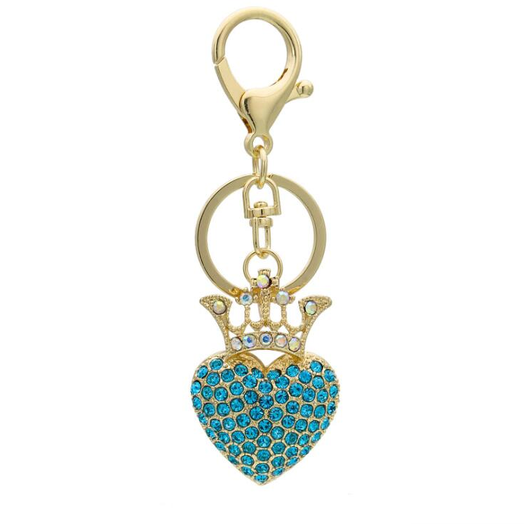 Blingbling 3D Handmade Crystal Crown Shape Automatic Car Keys Crown Keychain Princess Ornaments Women Ladies Girls
