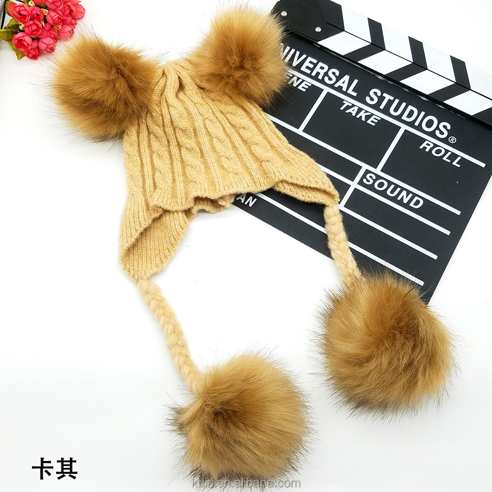 China factory Custom cute winter Caps women beanie hats lady Big double Fur Balls Pompons earflap Hat k3