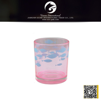 colorful pink tealight glass candle holder