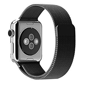 Apple watch band, iitee(TM) Milanese Magnetic Loop Stainless Steel Strap Watch Bands for Apple Watch iwatch (38mm black)
