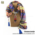 Promotional ethnic alloy jewelry beads tassel pendant short neck scarf