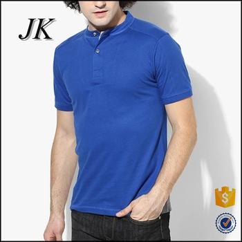 f7cc462ea Mens Royal Blue Solid Color Mandarin Collar Short Sleeve Polo T Shirt