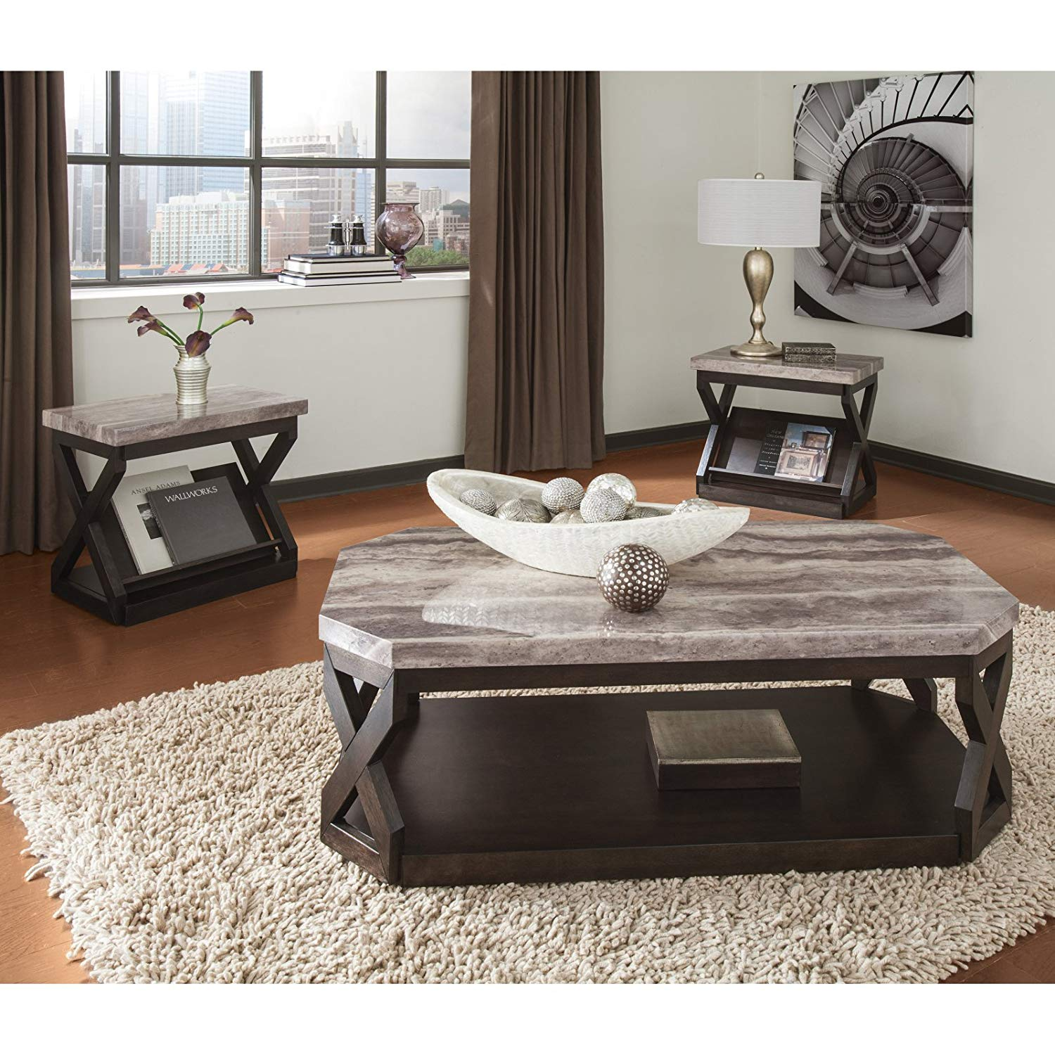 3 Piece Coffee Table Set, X-Shaped Frames, Bold, Contemporary Style, Gray Travertine Patterned Top, Glossy Polyurethane Finish, Hardwood Frames, Canted Corners, Generous Base Shelf + Expert Guide