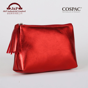 Metallic red color makeup pouch cosmetic organizer bag with tassel zipper