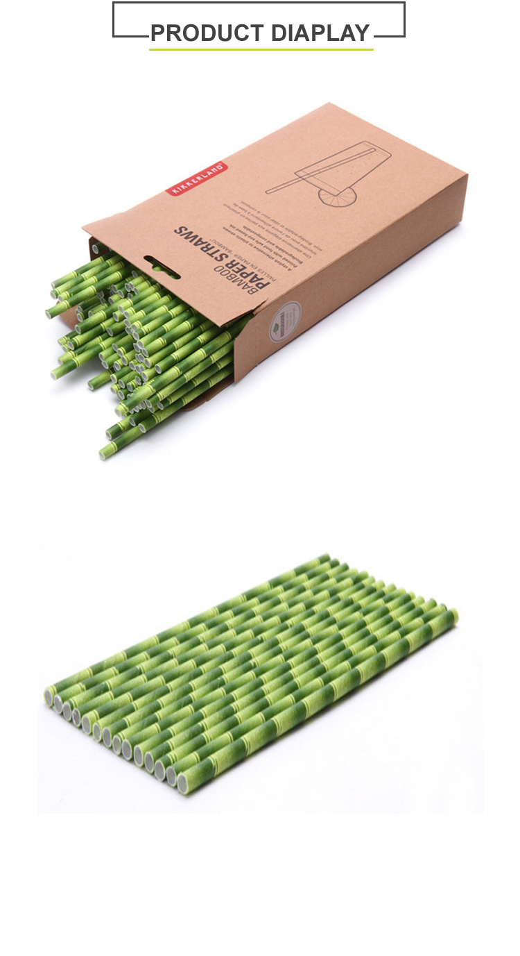 Bamboo pattern printed biodegradable eco paper drinking straws
