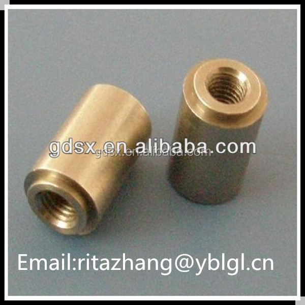 2014 hot sale China Dongguan custom made brass or copper inner threaded cylinder round pipe coupling nut bolt