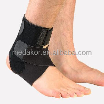 black neoprene ankle brace with stays