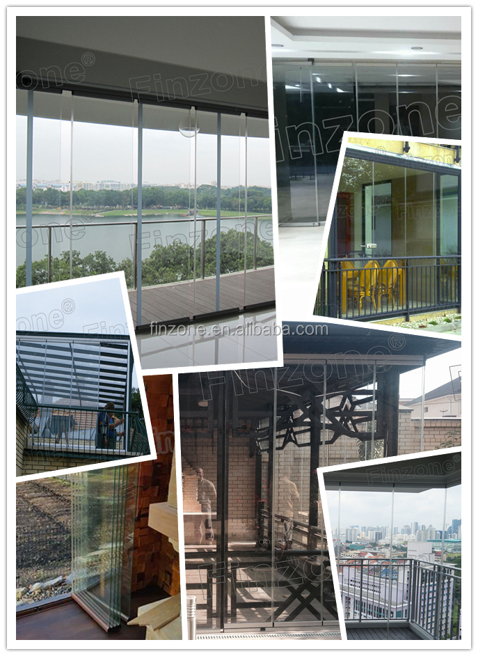 aluminium raw material frameless glass folding sliding door with stacking glass panel