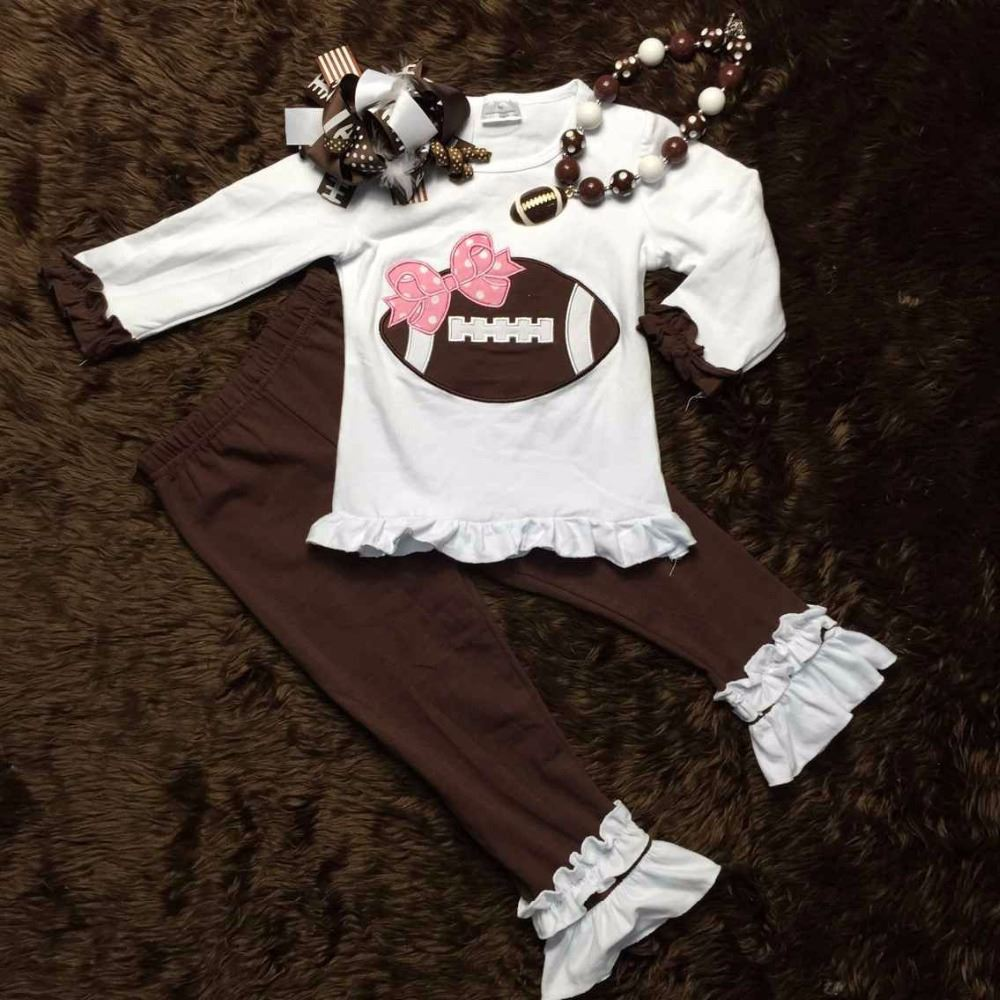 Football clothes Fall suit kids clothing kids suit boutique clothing pant long sleeves with matching headband and necklace set