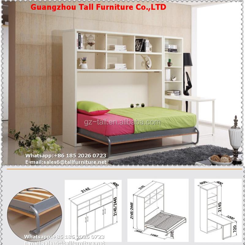 Reina tamaño cama de la pared mecanismo de metal plegable cama cama ...