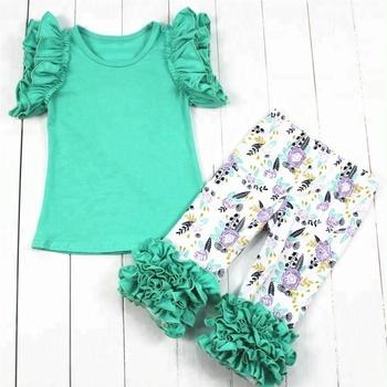 5066a1f8bcb12 Hot sale floral print baby organic cotton set girls wholesale boutique  clothing newborn baby clothes set