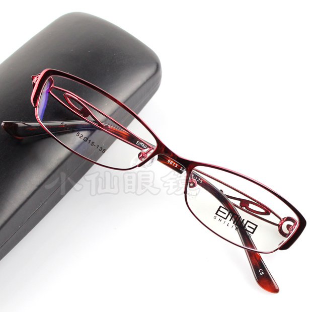 a4583b41345 Get Quotations · Women s fashion full frame metal alloy myopia frame  eyeglasses glasses frame high quality red lilac