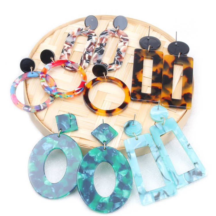 2019 Trendy Oval Resin Dangle Earring Geometry Big Circle Multi-Color Leopard Acrylic Hoop Drop Stud Earrings Women Jewelry Gift фото