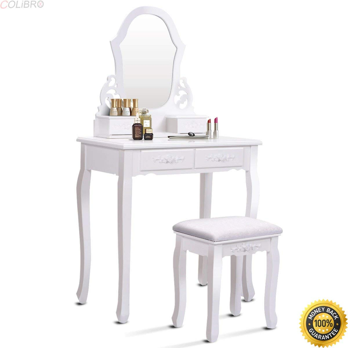 Get Quotations Colibrox White Vanity Jewelry Wooden Makeup Dressing Table Set W Stool Mirror