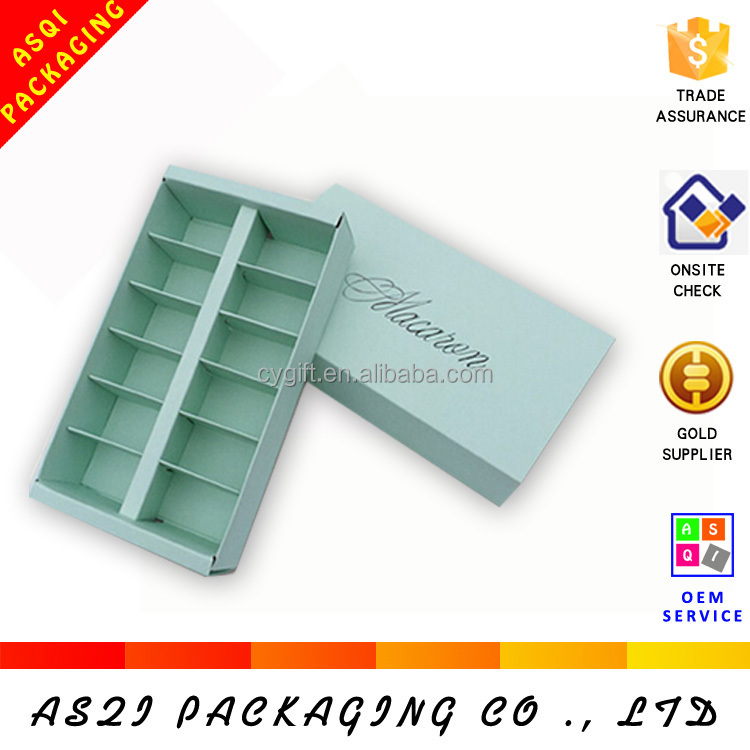 custom printed 4, 5, 6, 8, 10,12, 16 pieces wholesale macarons box with divider