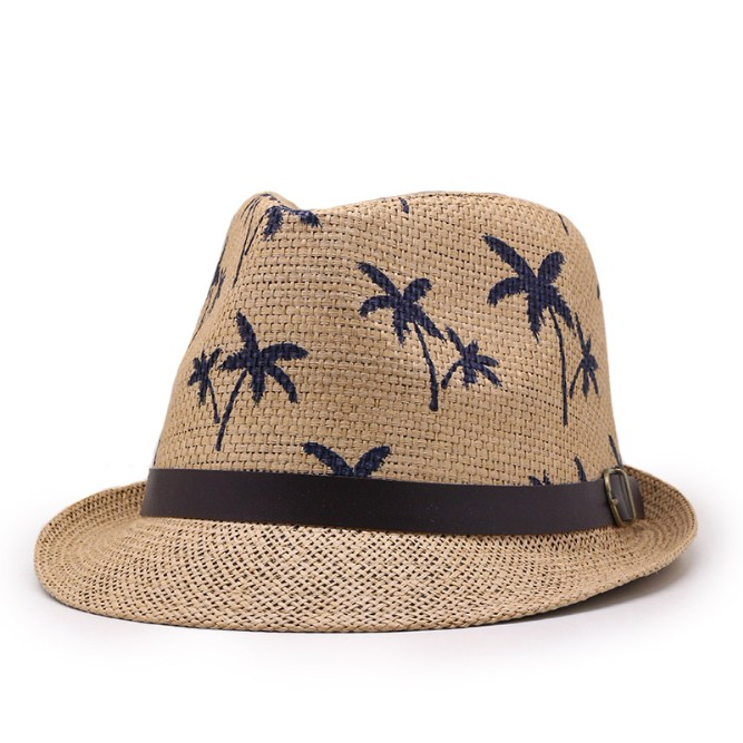The Hat Company Mens Summer Straw Trilby with Leaf Print Pattern