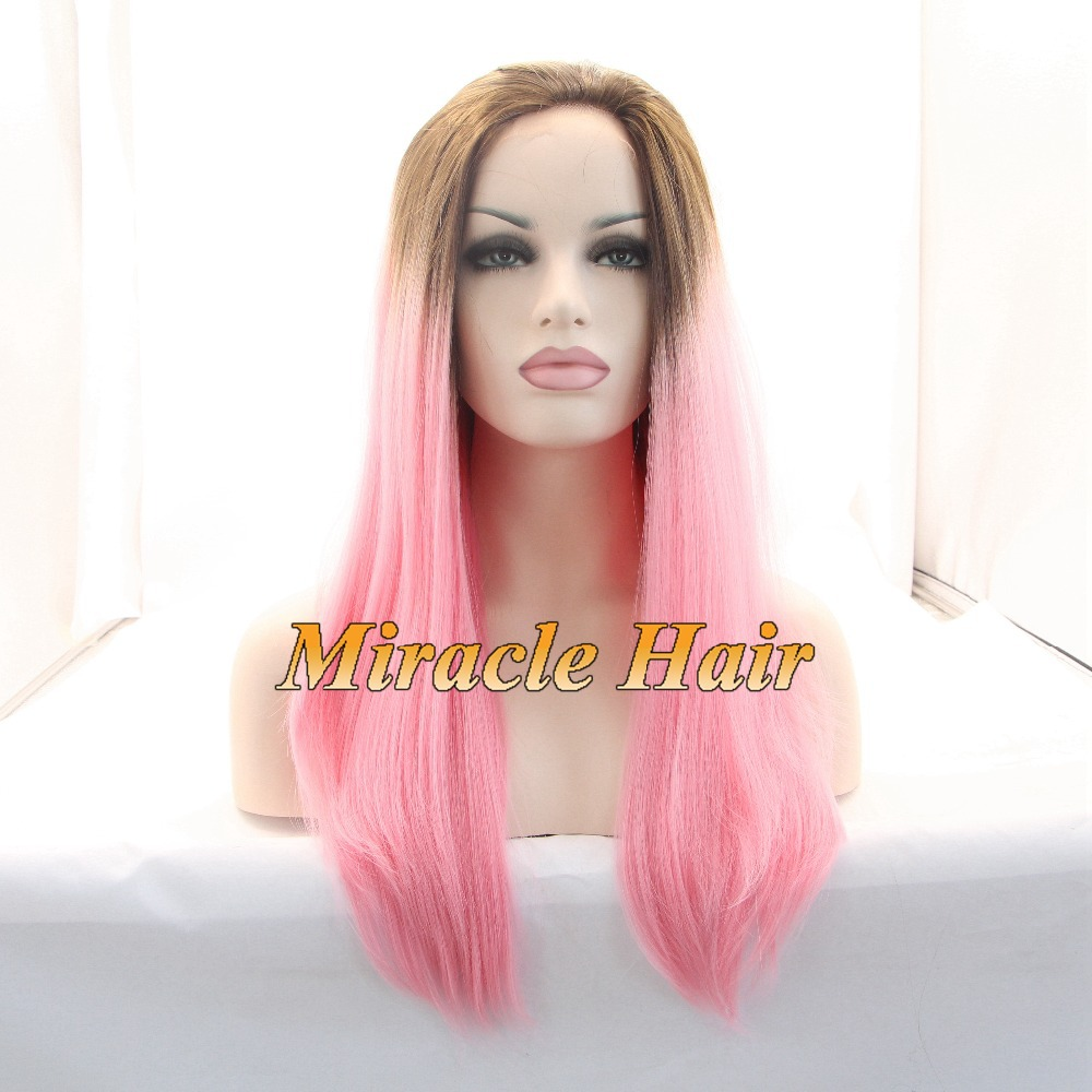 Affoedable Wigs For Sale Long Pink Ombre Silky Straight Synthetic Wigs Dark Roots Brown/Pink Glueless Lace Front Wig For Women