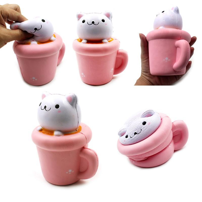 OLEEDA Decompression Toy PU Simulation Paper Cup Cat Squeeze Toy Soft Jumbo Squishy Cup Cat Slow Rising Toys for Phone Strap