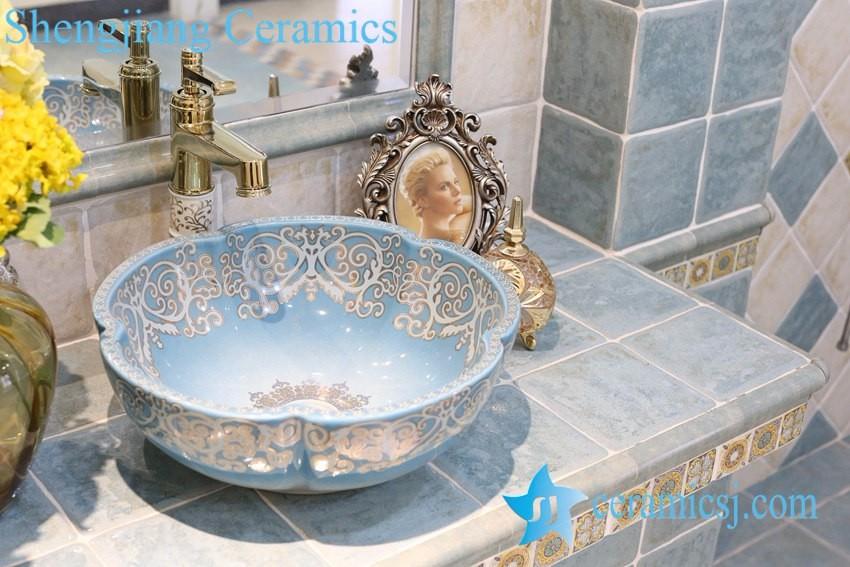 Lt 1a8110 china product blauw gouden gekleurde badkamer porselein