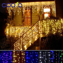christmas outdoor decoration 3.5m Droop 0.3-0.5m curtain icicle string led lights 220V New year Garden Xmas Wedding Party